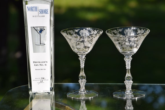 Vintage Etched Cocktail ~ Martini Glasses, Set of 3, Cambridge, Rose Point, circa 1934, Mixologist Craft Cocktails ~ Champagne Glass