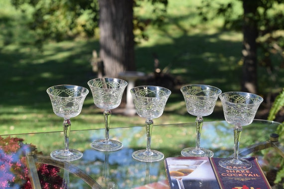 Vintage Etched Tall Cocktail Glasses Set of 5,  Vintage Etched Champagne Glasses ~ Champagne Toasting Glasses, Craft Cocktail Glasses