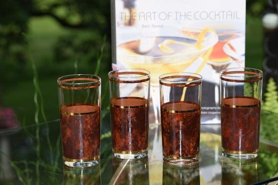 Vintage CULVER Tortoise Highball Glasses, Set of 4, Vintage Culver Whiskey Scotch Bourbon Glass ~ Vintage Gold Brown Cocktail Glasses