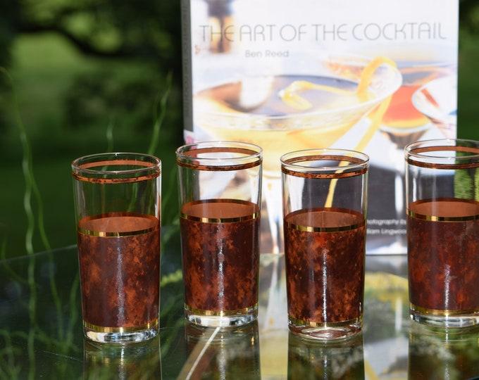 4 Vintage CULVER Tortoise Highball Glasses, Vintage Culver Whiskey Scotch Bourbon Glass ~ Vintage Gold Brown Cocktail Glasses