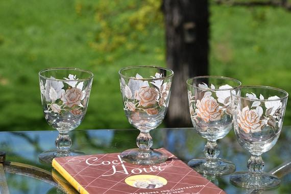 Vintage Floral Wine Glasses, Set of 4, Libbey  6 oz Cocktail glasses, Gold White Roses Wine glasses, Mimosa Cocktail glasses