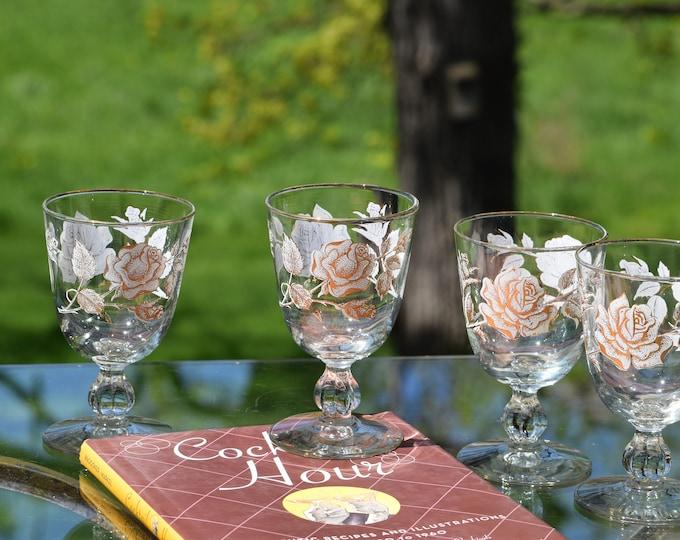 4 Vintage Floral Wine Glasses, Libbey  6 oz Cocktail glasses, Gold White Roses Wine glasses, Mimosa Cocktail glasses
