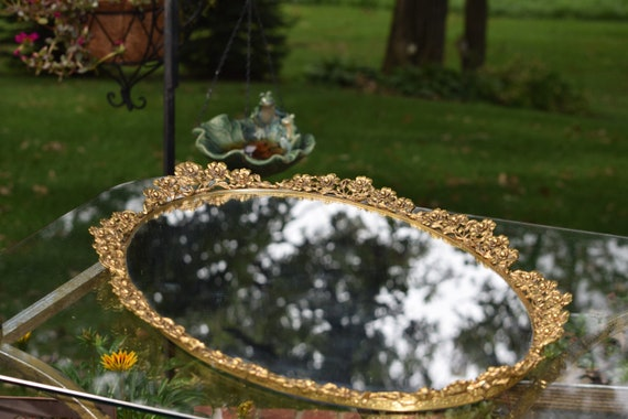 Vintage BRASS Gold Vanity Perfume Mirrored Tray, circa 1950's,  Vintage Shabby Chic Mirrored Perfume Tray