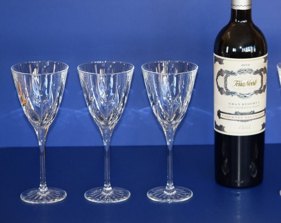 Vintage Crystal Wine Glasses Set of 5, Vintage Claret Wine Glasses, Wedding Toasting Glasses,  6 oz Wine Glasses