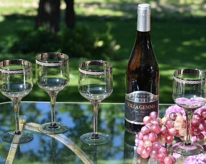 4 Vintage Platinum Encrusted Grey Crystal Wine Glasses, Vintage Gray Cocktail glasses, 1980's Vintage Wine Glasses, Grey Crystal