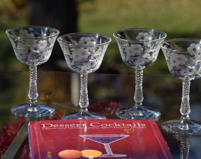 5 Vintage Etched Cocktail Glasses, 1950's After Dinner Drinks ~ 4 oz Cocktail Glasses, Liqueur ~ Sherry Glasses, Small Cocktail Glasses