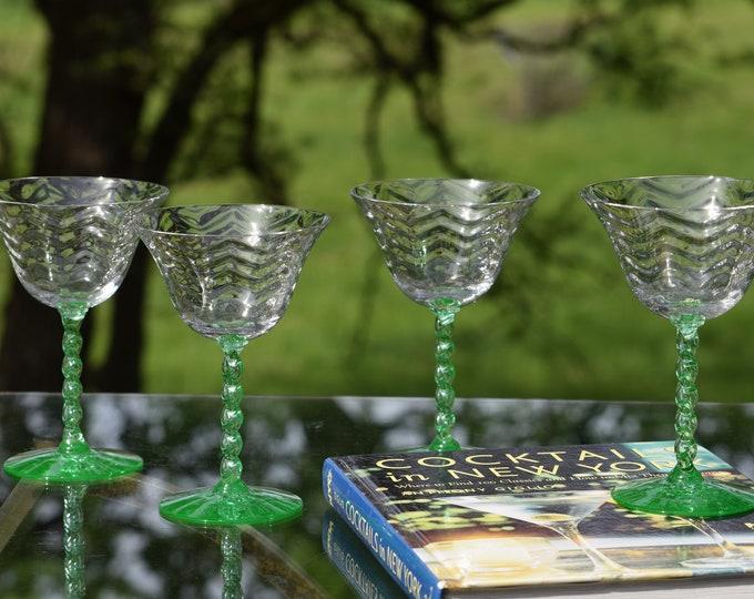 4 Vintage GREEN Uranium Optic Cocktail ~ Martini Glasses,  1940's, Vintage Wavy Optic Glass with Green Uranium Twisted Stem and Foot