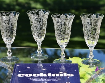 Vintage Etched Optic Crystal Cocktail Ice Tea Glasses, Set of 4, Cambridge, Rose Point, circa 1934 Cambridge Rose Point 10 oz Ice Tea