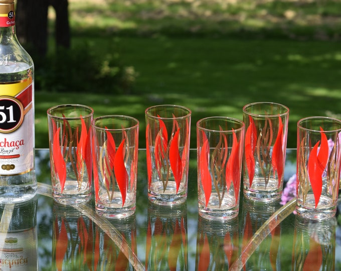 6 Vintage Red Gold Highball Cocktail glasses, 1950's, Vintage Whiskey ~ Bourbon ~ Scotch Glasses, Mid Century Highballs