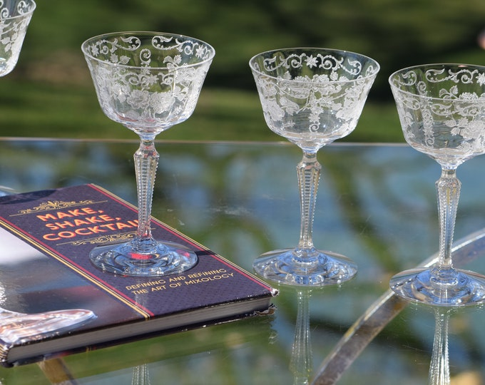Vintage Etched Crystal Cocktail Martini Glasses, Set of 5, Fostoria, circa 1940's, Wedding Champagne Glasses, Vintage Manhattan Glasses