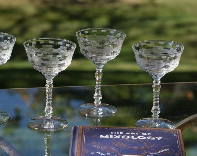 6 Vintage Etched Cocktail Glasses, 1950's,  Cocktail Party Glasses, Unique Etched Martini  Glasses, Mixologist Craft Cocktail Glasses