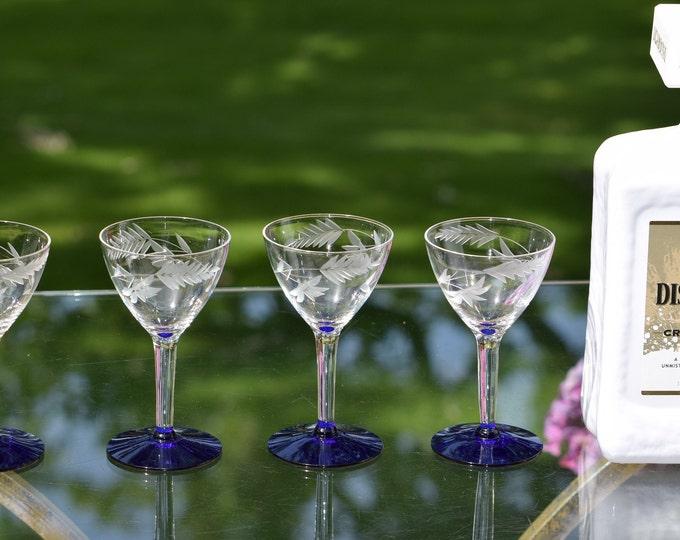 4 Vintage Etched Liqueur/Wine Glasses with Cobalt Blue Foot,  circa 1950, After Dinner Drink 3 oz Port Wine Liqueur Cordial Glasses