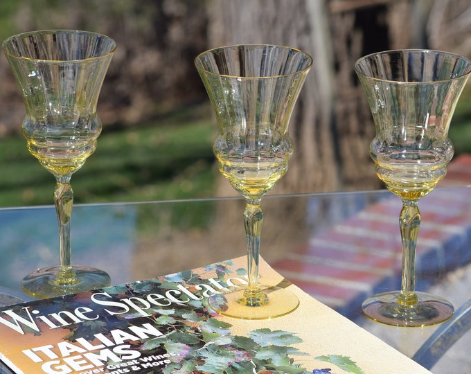 Vintage Yellow Depression Wine Glasses, Set of 4, Elegant Tall Yellow Wine Glasses, Yellow Optic Vaseline glasses