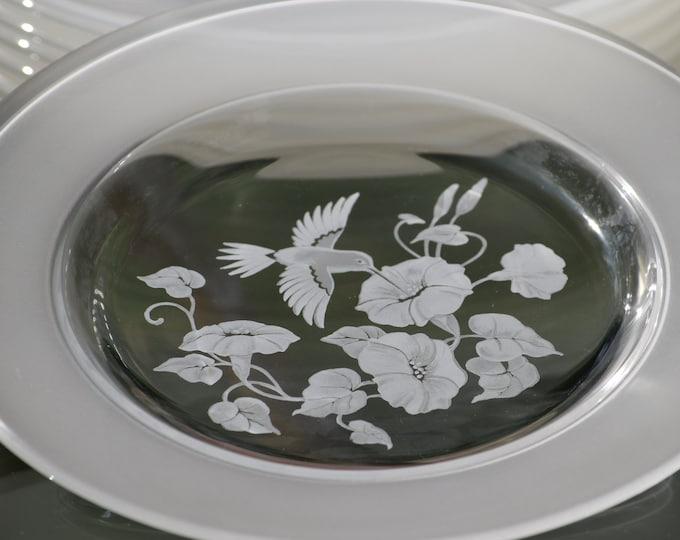2 Vintage Etched Hummingbird Dessert - Luncheon Plates,  Avon, 1980's, Etched Hummingbirds, Vintage Luncheon Salad Dessert Plates