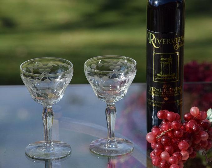 5 Vintage Etched Wine Cordial Glasses, 3-4 oz After Dinner Drink Glasses, Vintage Port Wine ~ Dessert Wine ~ Liquor Cordial Glasses