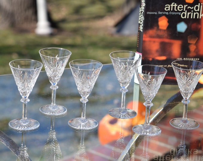 6 Vintage Etched CRYSTAL Wine Cordials, Set of 6, Val St Lambert ~ Eurydice,  1950's, 2 oz Port Wine Glasses, After Dinner Drink Glasses