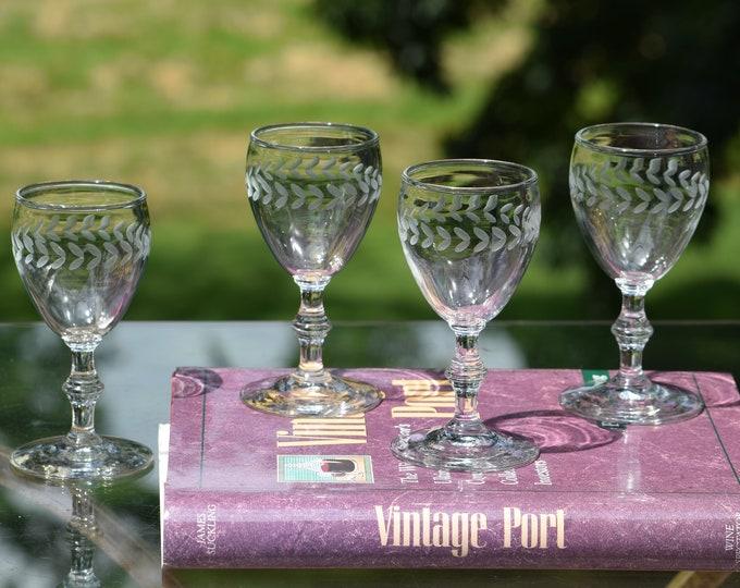 6 Vintage Etched Wine Liqueur Cordials ~ After Dinner Drink Glasses,   4 oz Port ~ Dessert Wine, Sherry glasses