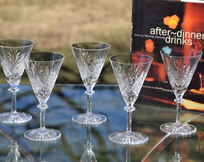 5 Vintage Etched CRYSTAL Wine Glasses, Val St Lambert ~ Eurydice,  1950's, 4 oz Claret Glasses, After Dinner Drink Glasses