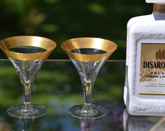 3 Vintage DOROTHY THORPE Golden Band Cocktail Glasses, 1950's Golden Band Dorothy Thorpe Martini Glasses, 1950's Mid Century Designer