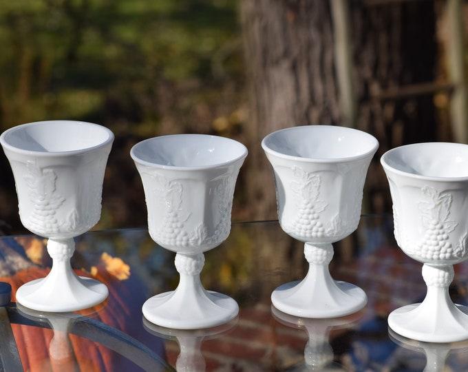 7 Vintage White Milk Glass Wine Glasses, circa 1950's, Set of 7, Vintage Cocktail Glasses ~ Summertime Table Decor, Vintage Wedding Glasses