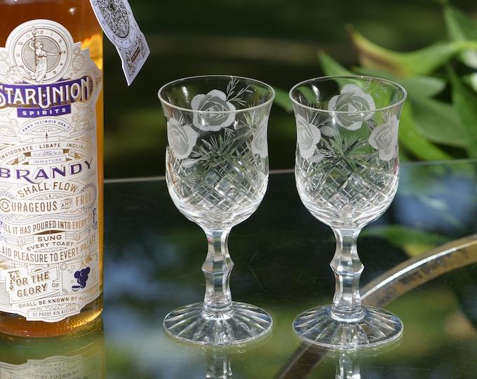 4 Vintage Etched - Cut CRYSTAL Wine Glasses,  6 oz Crystal Wine glass, Vintage Crystal Claret Wine Glasses,  Etched Roses Wine Glasses