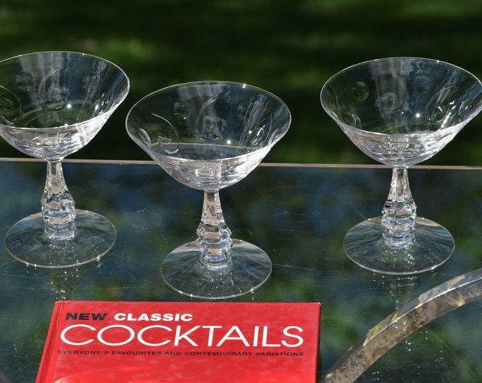 6 Vintage Crystal Cut Cocktail Glasses, Tiffin Franciscan, 1950's, Vintage Crystal Martini Glass, Wedding Toasting Champagne Glass