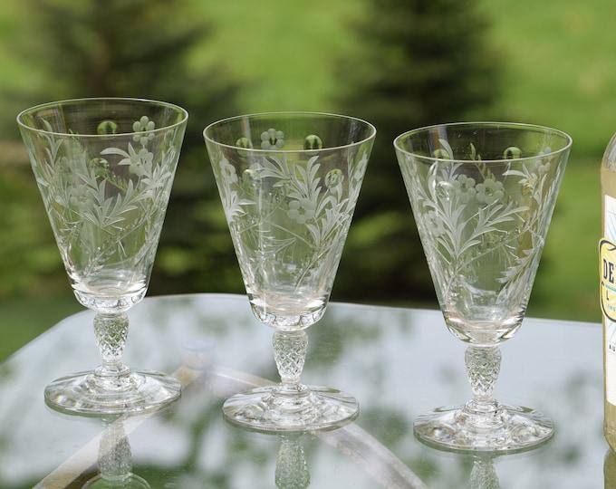 4 Vintage Etched Crystal Cocktail Glasses ~ Wine Glasses, 10 oz Cocktail Mimosa Glasses, Tall Cocktail glasses, Summer Cocktail Glasses