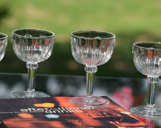 5 Vintage Pressed Glass Wine Cordials ~ Liqueur Cordials,  After Dinner Drinks, 3 oz Port~Dessert Wines, Small Wine Glasses