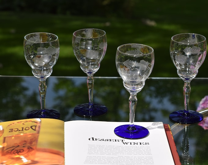 4 Vintage Etched Wine Glasses with Cobalt Blue Foot, circa 1950, After Dinner Drink Wines - Small 5 oz Dessert Wine ~ Limoncello Glasses