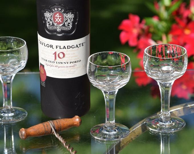 6 Vintage Wine Cordial Glasses ~ Liqueur ~ Port Wine Cordials, 3 oz After Dinner Drink Glasses, Dessert Wine glasses,