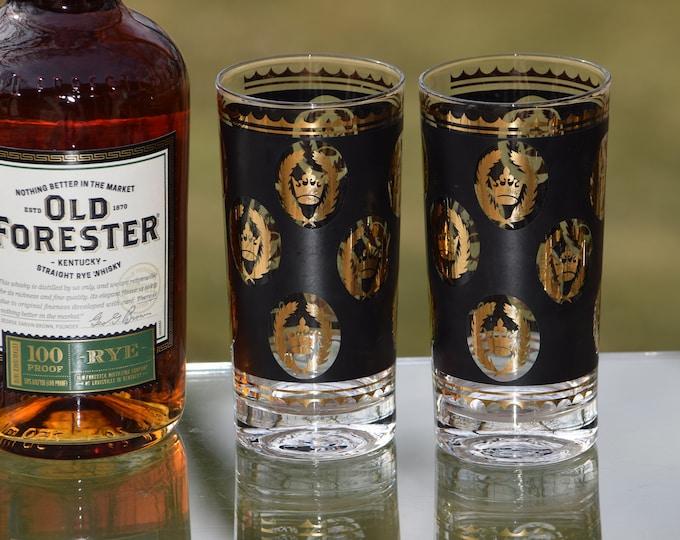 4 Vintage Black & Gold Cocktail Highball Glasses, Set of 4, Whiskey ~ Bourbon Highball Glasses ~ Cocktail Set