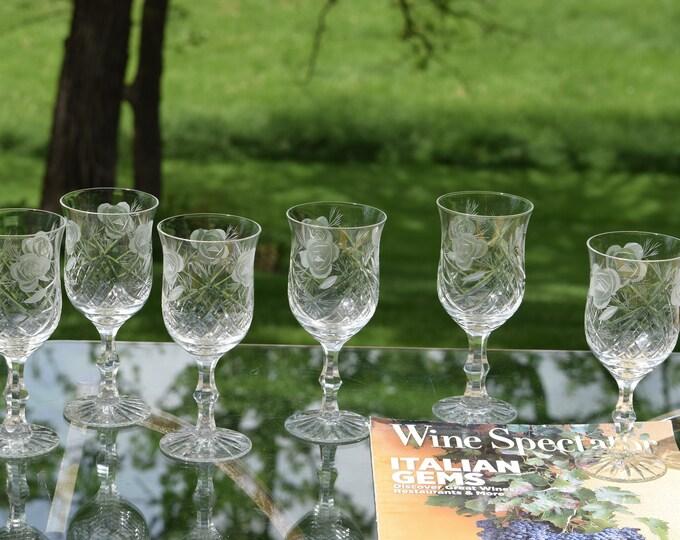 6 Vintage Etched - Cut CRYSTAL Wine Glasses,  8 oz Crystal Wine glass, Vintage Crystal Water Goblets,  Etched Roses Wine Glasses