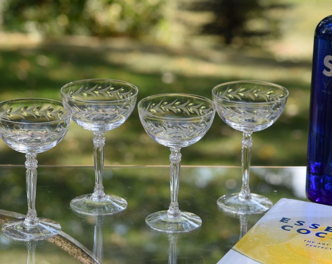 3 Vintage Etched CRYSTAL Champagne Coupes - Cocktail Glasses, Fostoria, Holly, circa 1942-1980,  Tall Crystal Etched Cocktail Coupes