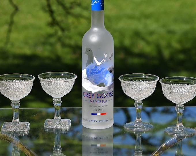 4 Vintage Pressed Glass Cocktail Glasses, 1940's, Craft Cocktail Glasses, Wedding Champagne Toasting, Vintage Champagne Glasses, Gin Glasses