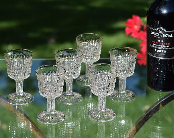 6 Vintage Pressed Glass Wine Cordials ~ Liqueur Cordials, c. 1940,  After Dinner Drinks, 3 oz Port~Dessert Wines, Small Wine Glasses
