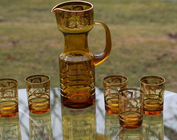 Vintage Cocktail Pitcher with Lowball glasses, 1950's Amber Glass- Polished Pontil,  Mid Century Amber Blown Glass Batch Cocktail Pitcher