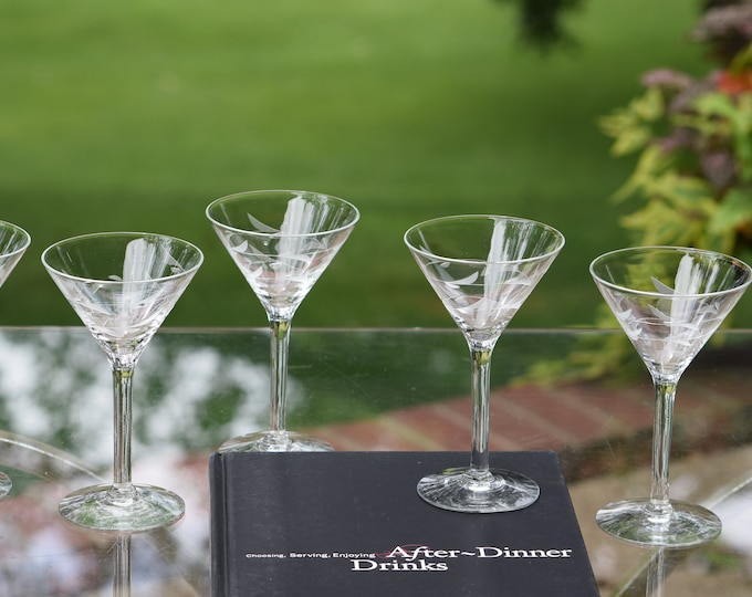 6 Vintage Etched Liqueur ~ Cocktail glasses,  Tall After Dinner Drink Glasses , Small 3 oz Martini Glasses, 3 oz Etched Liqueur Glasses
