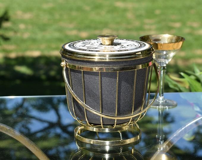 Vintage Georges Briard Ice Bucket with Gold Stand, 1950's, Home Bar Ice Bucket, Mixologist Ice Bucket, Unique 1950's Barware Ice Bucket