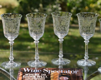 Vintage Etched Wine Glasses - Water Goblets, Set of 4, Heisey, Orchid, circa 1940, Vintage Wedding Toasting Wine Glasses, Tall Crystal Glass