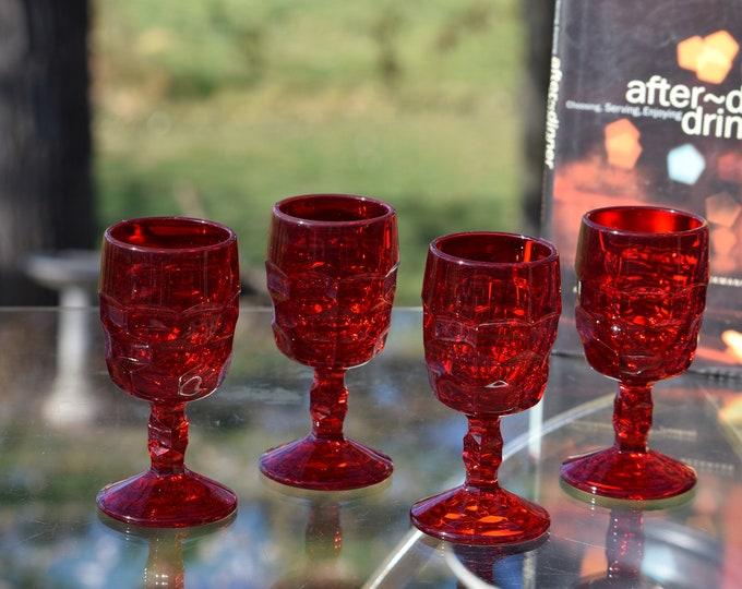 4 Vintage Pressed Glass Red Wine Glasses, Set of 4, Vikings, Georgian Ruby, c. 1950's, After Dinner Wine glasses, 5 oz Liqueur glasses