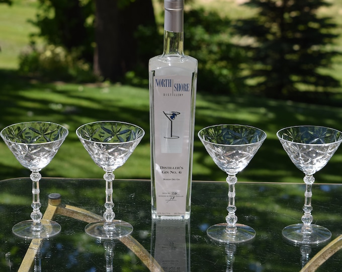 4 Vintage Etched CRYSTAL Cocktail Glasses, Vintage Crystal Martini Glass, Wedding Toasting Champagne Glasses