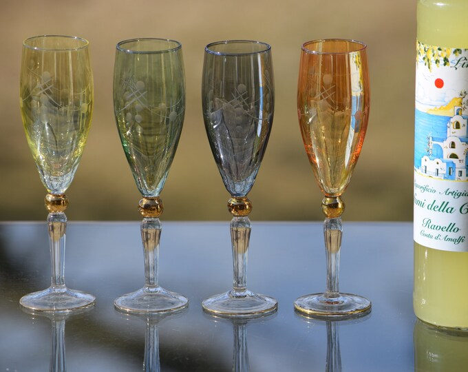 4 Vintage Multi Colored Etched Liqueur - Wine Cordials glasses, After Dinner Drink Glasses, 2 oz Port, Dessert, Liqueur, Sherry Glass
