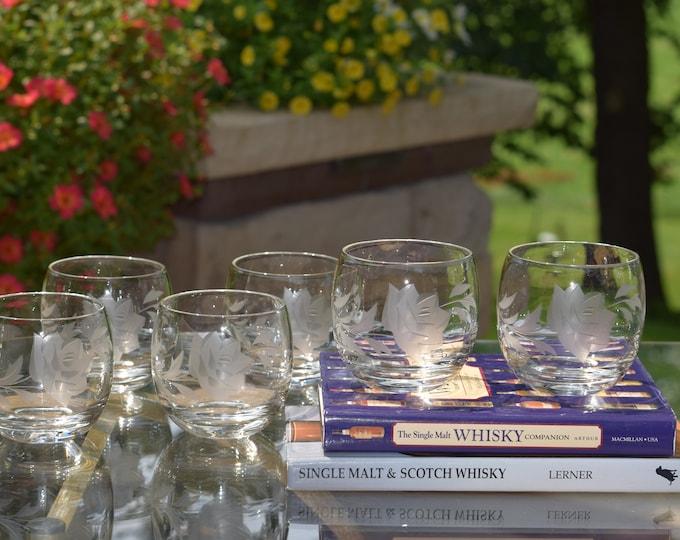 6 Vintage Etched Roly Poly Glasses, Vintage Whiskey, Bourbon, Scotch Lowball ~ Glasses, Vintage Etched Cocktail Bourbon Rocks Glasses