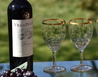 0af23cdf008 Vintage GOLD RIMMED Optic Glass Wine Glasses