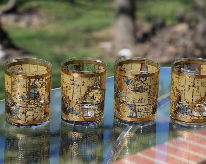 Vintage Cocktail ~ Whiskey Rocks Glasses, Set of 4, Cera, Old World, 1950's, Whiskey, Bourbon, Scotch Double Old Fashioned Glasses