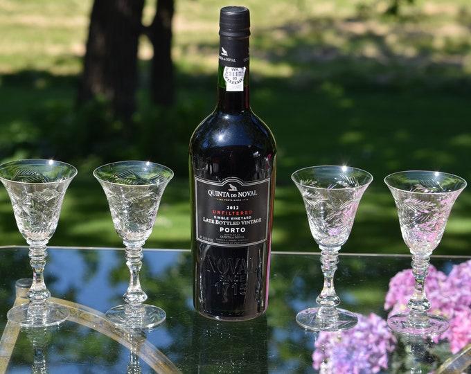 4 Vintage Etched Wine Liqueur - Glastonbury Lotus, 1940's, 4 oz After Dinner Drink Glasses, 1950's,  4 oz Dessert Wine, Sherry glasses