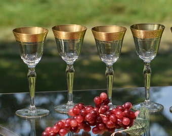 Vintage Gold Rimmed Encrusted Cordial Port Wine Glasses, Set of 4, Glastonbury Lotus, Rambler Rose, Vintage Gold Rimmed Cordial Liquor Glass