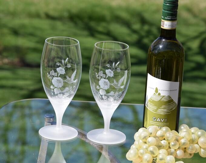 2 Vintage Crystal Etched Hummingbird Wine~ Cocktail  Glasses, Vintage Etched Water Goblets, Avon, Hummingbird, c. 1986, Crystal Hummingbirds