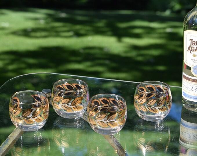 4 Vintage Black & Gold Roly Poly Cocktail Glasses, 8 oz, Whiskey, Bourbon Scotch Glasses, Mid Century Modern Barware - Rocks Glasses