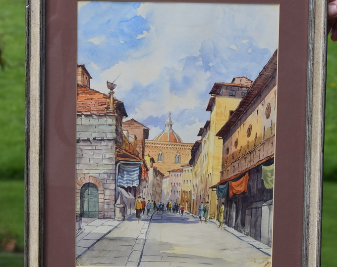 Vintage Florence, Italy Landscaping Watercolor Painting, Vintage Home Decor ~ Italy Watercolor Painting of Streets in Florence